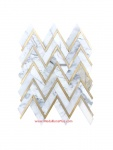 Calacatta Gold Marble & Yellow Gold Herringbone Chevron Polished Mosaics Tiles