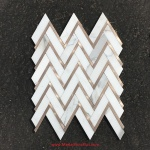 Calacatta Gold Marble & Rose Gold Herringbone Polished Mosaics Tiles