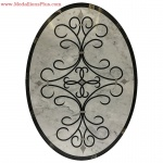 "Carrara, 36"" x 48"" Oval Waterjet Cut Floor Medallion, Polished"