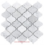 Carrara White Marble Small Polished Arabesque Mosaic Tiles