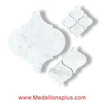 Carrara Marble - Arabesque Waterjet Cut Tile - Design 28