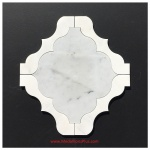 Carrara And White Marble Waterjet Cut Tile