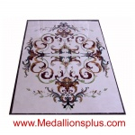 "Annabelle, 48"" x 72"" Rectangle Waterjet Cut Floor Medallion, Polished"