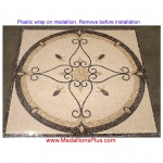 "ELEGANTE, 48"" Polished Square Mosaic Medallion"