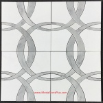 Circles - Thassos White & Carrara Marble Waterjet Cut Tile