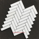 Thassos White Marble Herringbone Polished Mosaics Tiles