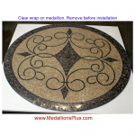 "Iron Works II, 24"" Honed Mosaic Floor Medallion"