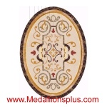 "Merissa, 36"" x 48"" Oval Waterjet Cut Floor Medallion, Polished"