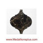 Dark Emperador Marble - Arabesque Waterjet Cut Tile - Design 28