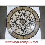 "KRISTINE II, 48"" Polished Mosaic Floor Medallion"
