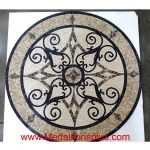 "KRISTINE II, 46.5"" Mosaic Floor Medallion - Honed"