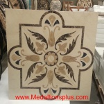 "Leaves Square 3/8, 48"" Waterjet Stone Floor Inlay"
