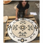 "Audrey, 36"" Mosaic Tile Floor Medallion"