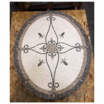 "Elegante, 36"" x 48"" Oval Mosaic Floor Medallion, Nonpolished"