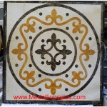 "Seville Square 3/8, 36"" Waterjet Stone Floor Inlay"