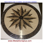 "Star Light, 36"" Honed Mosaic Floor Medallion"