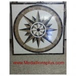 "Summer Star, 31 1/2th"" Square Stone Floor Inlay"