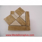 "Travertine and Marble Large  Polished- Tile Border 5"" x 12"" - Corner"
