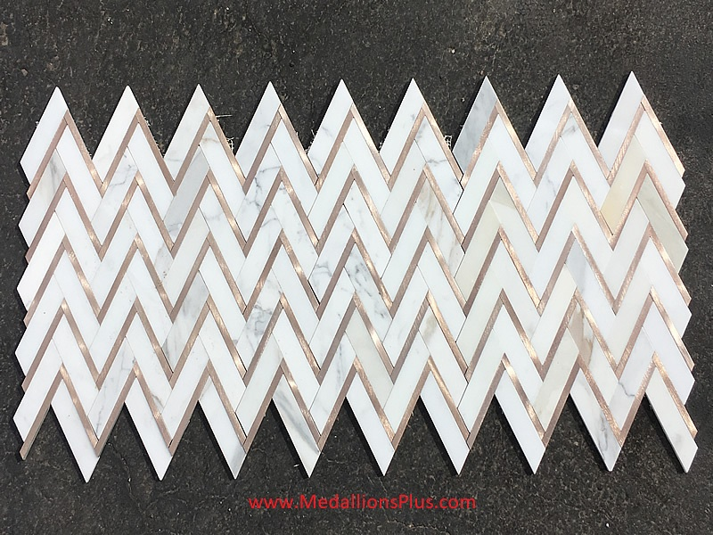 Calacatta Gold Marble Amp Rose Gold Herringbone Polished