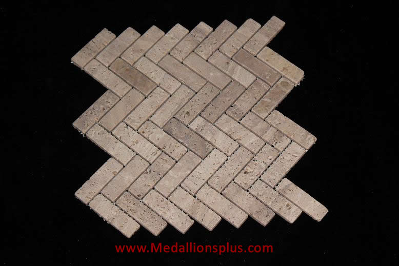 herribone travertine honed mosaics meshed on 12x12 sheet