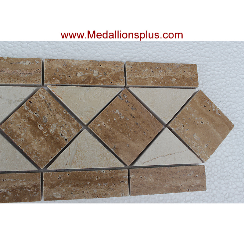 Travertine Floor Inlays : Travertine and marble large tile border quot