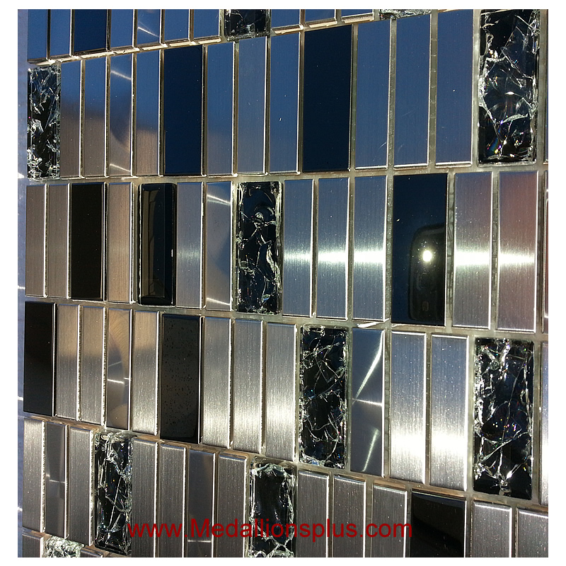Stainless Steel Floor Inlays : Stainless steel and crackel glass backsplash mosaic