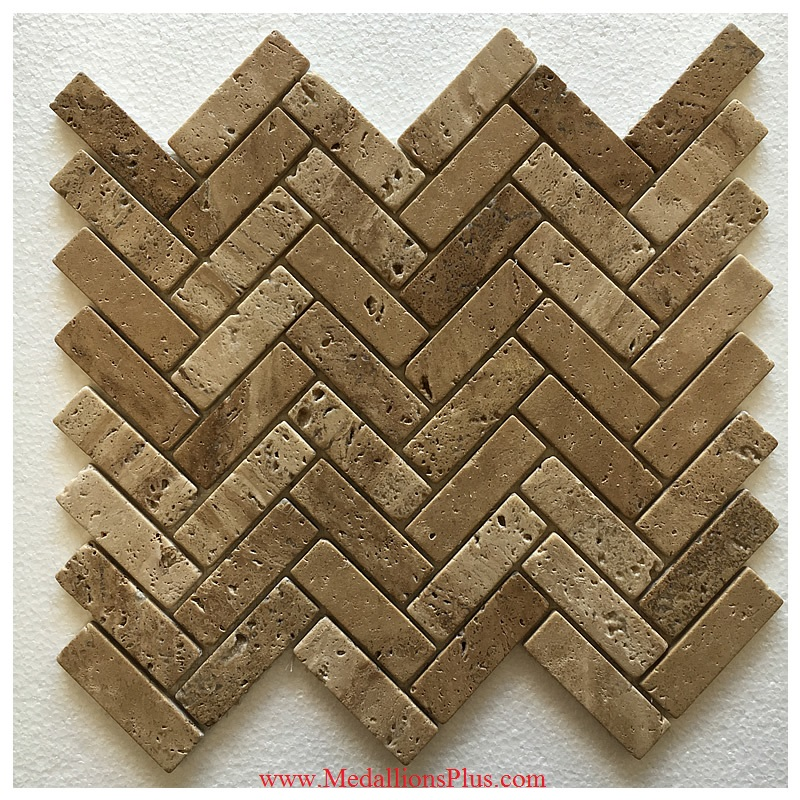Herringbone Travertine Honed Mosaics Meshed On 12x12 Sheet