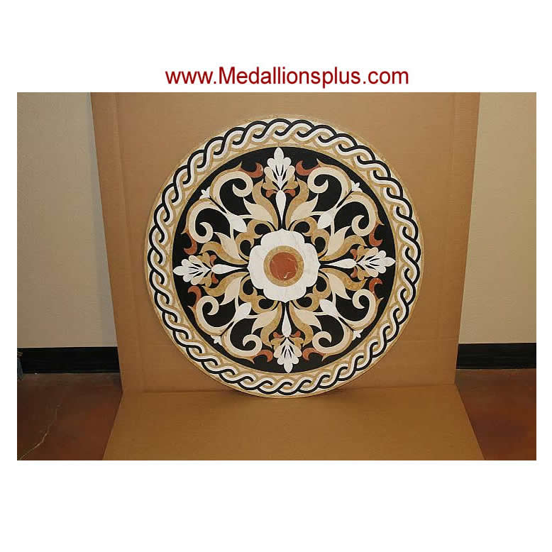 red cream moreroom carpet round marble detail waterjet product stone medallion