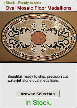 In Stock - Mosaic Oval Floor Medallions