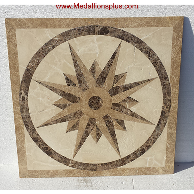 Mosaic tile inlay tile design ideas for Wood floor medallions inlay designs