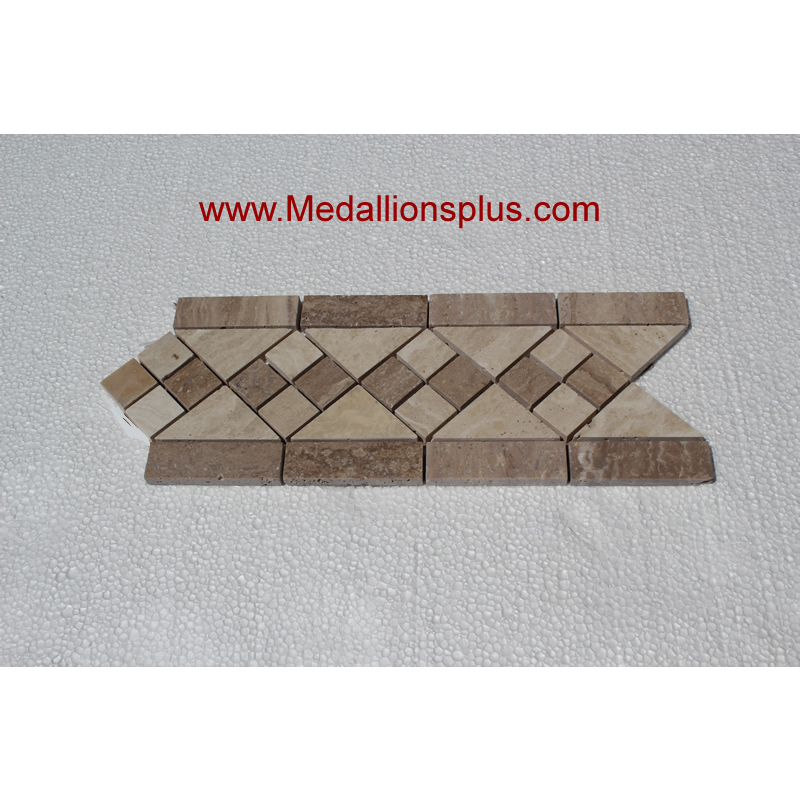 Travertine And Marble Diamond Tile Border 5