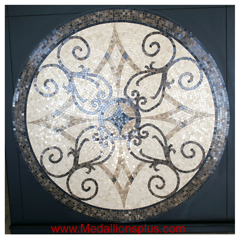 "KRISTINE III, 48"" Polished Mosaic Floor Medallion"