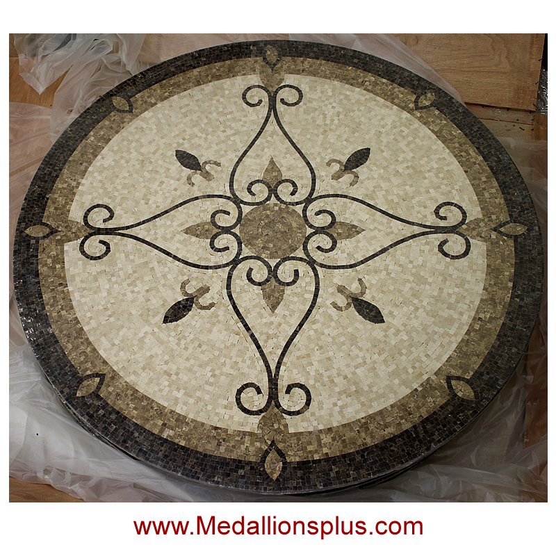 Circular Marble Inlay Flooring : Elegante quot polished mosaic floor medallion