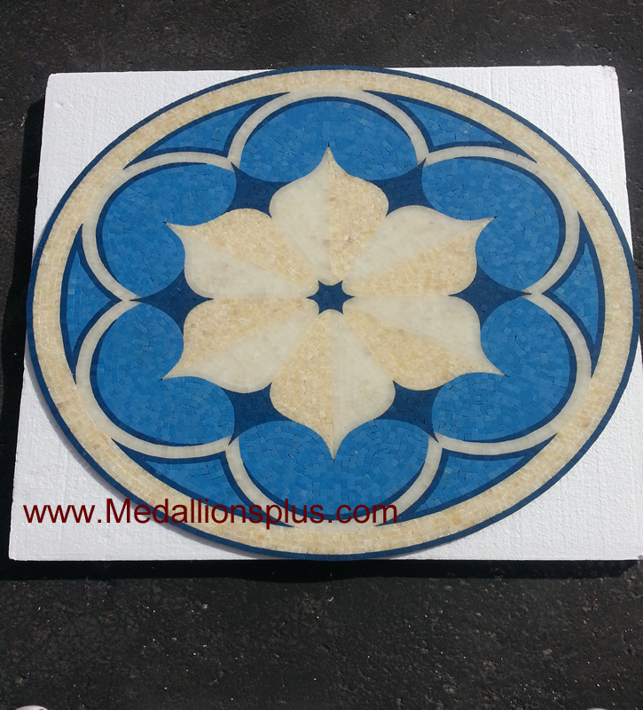 Floral Pool 36 Quot Polished Mosaic Pool Medallion