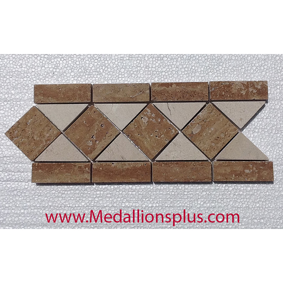 Travertine Floor Inlays : Travertine and marble large polished tile border quot