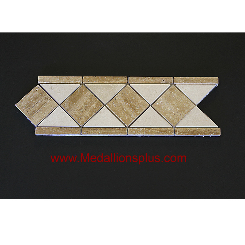 Travertine Floor Inlays : Travertine and marble honed tile border quot